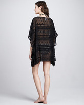 Betsey Johnson Double Date Lace-Stripe Coverup