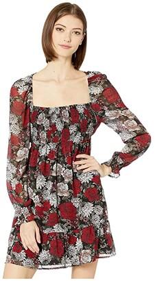 BB Dakota I Touch Roses Winter Printed Crinkle Chiffon Square Neck Dress with Smocking (Black) Women's Dress