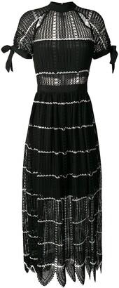 Self-Portrait long mesh knit dress