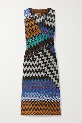 Missoni Paneled Metallic Crochet-knit Midi Dress - Blue
