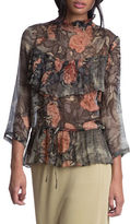 Tracy Reese Three-Quarter Sleeve Silk Ruffled Top