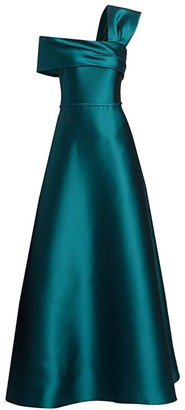 Teri Jon By Rickie Freeman One-Shoulder Silk Mikado A-Line Gown