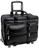 """McKleinUSA Clinton 17"""" Leather Laptop Case with 2-in-1 Detachable Wheel and Handle System"""