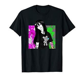 Gothic Black and White Emo Girl with Vintage Flowers Tattoo T-Shirt