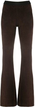 P.A.R.O.S.H. Suede Flared Trousers