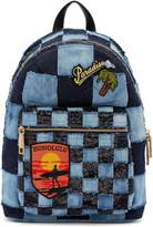 Blue Denim Patchwork Backpack