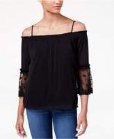 Amy Byer Juniors' Lace-Sleeve Cold-Shoulder Top