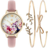 INC International Concepts Women's Pink Leather Strap Watch & Bracelet Set 34mm IN019GBL, Only at Macy's