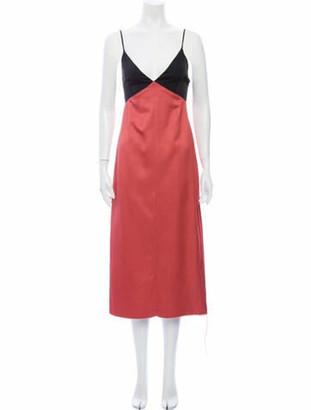 Marina Moscone Colorblock Pattern Midi Length Dress Pink