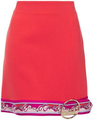 Emilio Pucci Embellished Printed Twill-trimmed Wool-blend Mini Skirt