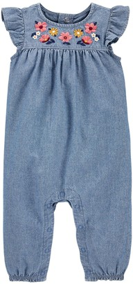 Carter's Baby Girl Embroidered Chambray Jumpsuit