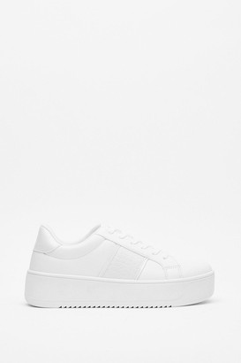 Nasty Gal Womens Chunky Sneakers with Croc Embossed Design - White