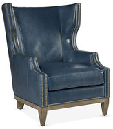 Blake Wingback Chair - Adriatic Leather - Massoud - frame, maple fog; upholstery, Adriatic blue; hardware, antiqued silver