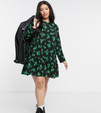 ASOS DESIGN Curve long-sleeved tiered smock mini dress in black floral print