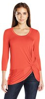 Karen Kane Women's 3/4 Sleeve Side-Twist Top