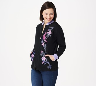 Bob Mackie Embroidered Songbird Zip Up Jacket