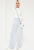 Missguided Crepe Wide Leg Trousers Blue