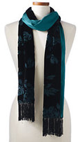 Lands' End Women's Double Faced Velvet Scarf-Dark Azure