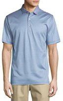 Peter Millar Sean Classic-Stripe Cotton Lisle Polo Shirt, Blue