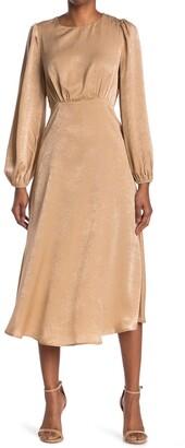 A.Calin Satin Long Sleeve Midi Dress