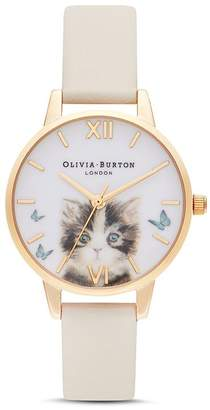Olivia Burton Kitten & Butterfly Motif Watch, 30mm