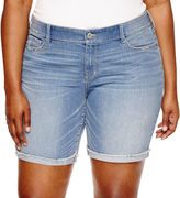 Arizona 9 Denim Bermuda Shorts-Juniors Plus