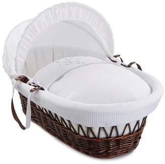 Clair De Lune Stardust Dark Wicker Moses Basket inc. Bedding, Mattress & Adjustable Hood