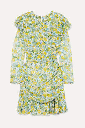 Veronica Beard Ruched Floral-print Silk-chiffon Mini Dress - Yellow