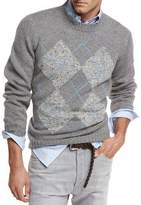 Brunello Cucinelli Argyle Wool-Cashmere-Silk Crewneck Sweater