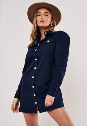 Missguided Navy Puff Sleeve Military Shirt Dress