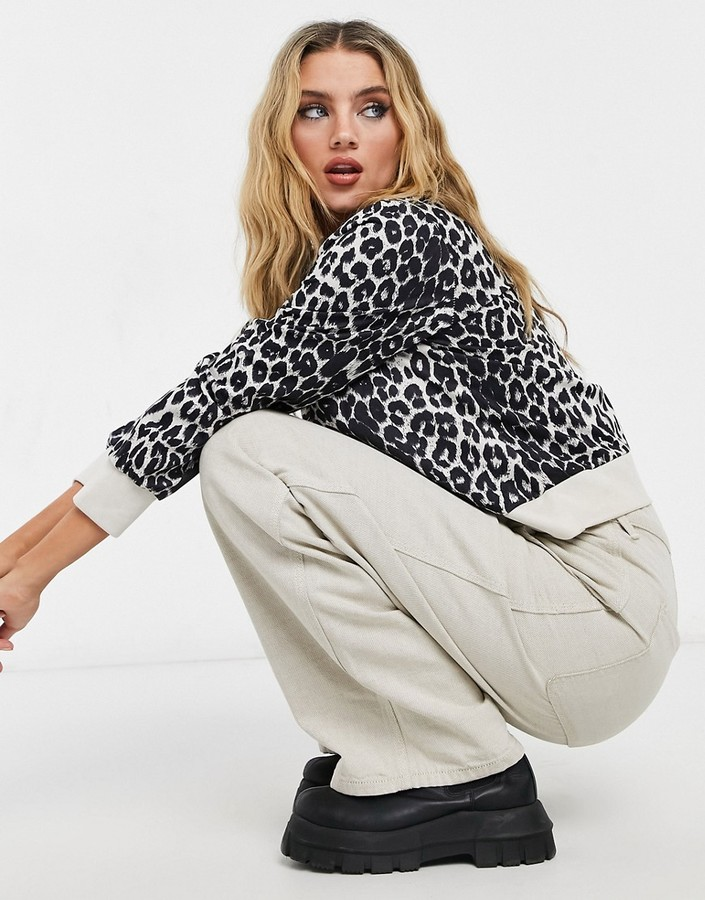 Thumbnail for your product : Qed London sweater in monochrome leopard