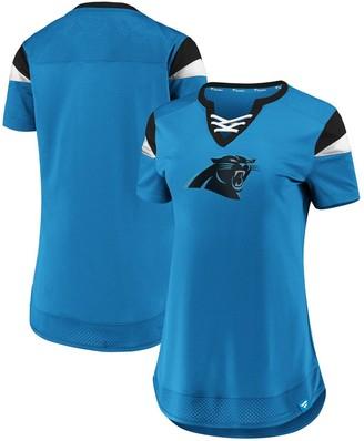 Women's NFL Pro Line by Fanatics Branded Blue Carolina Panthers Draft Me Lace-Up T-Shirt