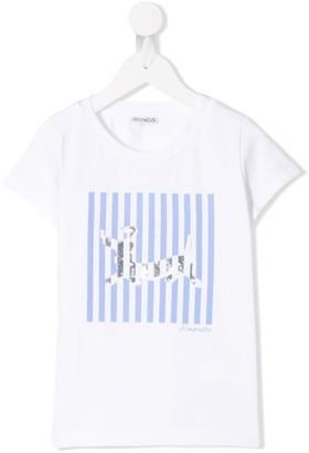 Simonetta striped dog T-shirt