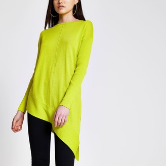 River Island Womens Green asymmetric long sleeve knitted jumper