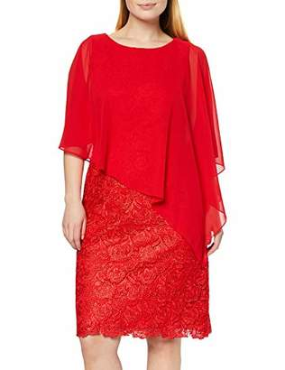 Gina Bacconi Women's Chiffon Cape and Lace Dress, Red
