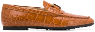 Tod's Monogram-Applique Leather Loafers