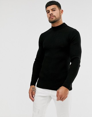 Asos DESIGN muscle fit ribbed turtleneck sweater in black