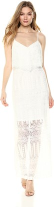 GUESS Women's GEO Striped LACE Maxi Dress
