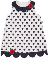 Florence Eiseman Scalloped Pique Polka-Dot Dress, White/Blue, Size 2-6X