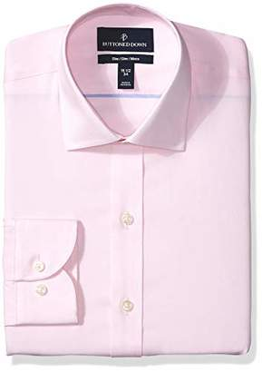 Buttoned Down Slim Fit Spread Collar Solid Non-Iron Dress Shirt, Light Pink/No Pockets, 15 Inches Neck 33 Inches Sleeve