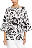 Lauren Ralph Lauren Paisley Print Crepe Tunic Top, Pearl/Black