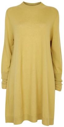 Nologo Chic Long Knit Tunic Dress With Matching Skinny Scarf - Merino/Cashmere -Italian Gold