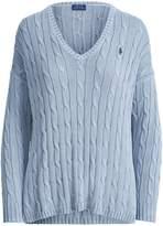 Ralph Lauren Cable Cotton V-Neck Sweater