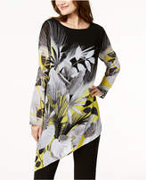 Alfani Asymmetrical Printed Tunic Blouse, Created for Macy's