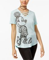 Hybrid Juniors' Mickey Mouse Lace-Up T-Shirt