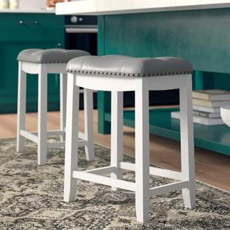 Andover Mills Mikhail Bar & Counter Stool Upholstery: Faux Leather- Gray, Seat Height: Counter Stool (24â Seat Height), Color: White