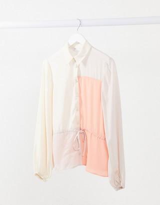 ASOS DESIGN color block shirt with drawstring waist