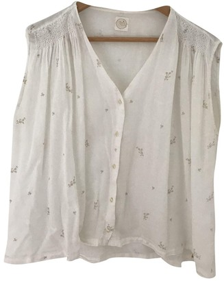 Des Petits Hauts Ecru Cotton Top for Women
