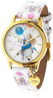 Beatrix Potter Children Peter Rabbit Gold Steel Case and Printed White Leather Watch 28mm