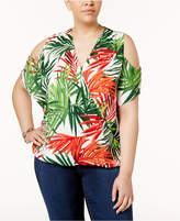INC International Concepts Plus Size Leaf-Print Cold-Shoulder Top, Created for Macy's